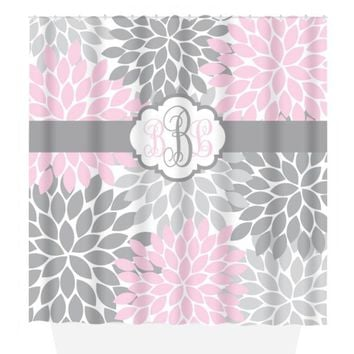 Pink Gray SHOWER CURTAIN, Flower Bathroom, Custom MONOGRAM Personalized, Floral Bathroom Decor, Bath Towel, Plush Bath Mat