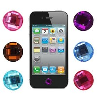 6 pieces Bling Diamond Crystal Style Home Button Sticker for Apple ipad iPod iPhone-decorate more beautiful