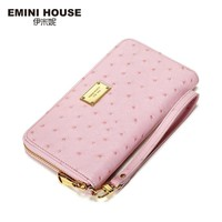 EMINI HOUSE Ostrich Pattern Wallet Women Genuine Leather Long Wallets Zipper Coin Purse Card Holder Casual Clutch Travel Wallets