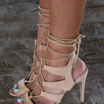 Midnight Memories Nude Strappy Caged Heels
