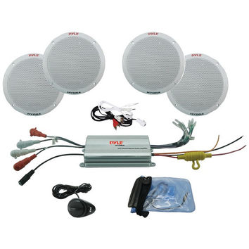 "PYLE 6.5"" 4-Channel Waterproof MP3/iPod Amplified Marine Speaker System PLMRKT4A"