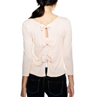 Triple Bow-Back Long-Sleeve Top
