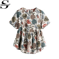 Sheinside Cute Smock Blouse 2017 Women Multicolor Keyhole Back Dip Hem Summer Tops Fashion Casual Print Pleated Peplum Blouse