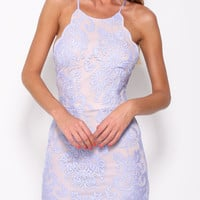 Strappy Back Crisscross Lace Mini Dress