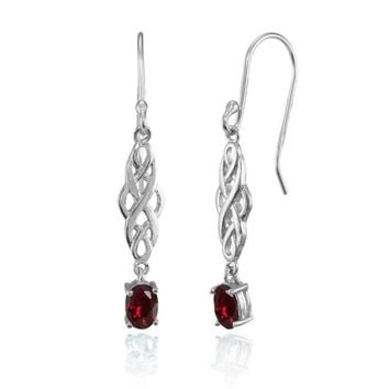 Oval Created Ruby Celtic Knot Drop Dangle Earrings in Sterling Silver