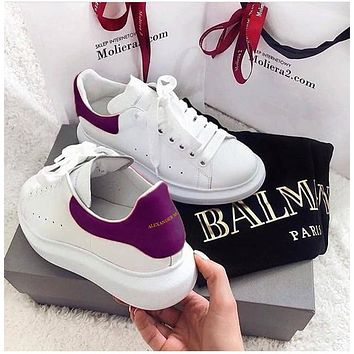 ALEXANDER MCQUEEN Tide brand female models low to help thick bottom increase sports white shoes(Velvet tail) Purple