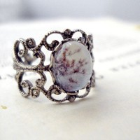 Vintage Filigree Polaroid Ring Antique Silver by jerseymaids