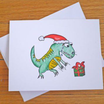 Cute / Funny Christmas Card - T-Rex Dinosaur - Holidays - Merry Christmas