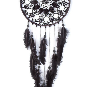 Large Black Dream Catcher, Crochet Doily Dreamcatcher, boho dreamcatchers, sweet dreams, wall hanging, wall decor, handmade