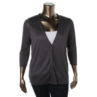 August Silk Womens Cowl Back V-Neck Cardigan Top