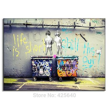 Banksy Graffiti Posters Picture Life Is Short