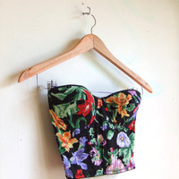 vintage 1980's floral bustier top with sheer back by storyofthings