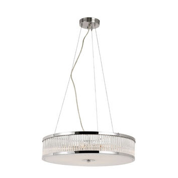Trans Globe Lighting 10154 PC Crystal Sun Polished Chrome 20-Inch 5 Light Adjustable Pendant with Clear Crystal Tapers