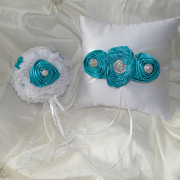 Flower Girl Bouquet Wand and Ring Bearer Pillow Set White and Teal Vintage Shabby Chic