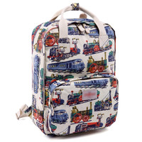 Women's Train Printed Canvas Laptop Backpack School Bookbag Travel Daypack