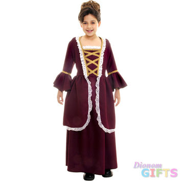 Girl's Costume: Colonial Girl, Red-Large
