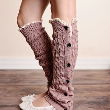 Cable Knit Button Down Boot Socks Vintage Rose Leg Warmers