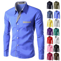 Brand New Mens Formal Business Shirts Casual Slim Long Sleeve Dresse Shirts Camisa Masculina Casual Shirts Asian Size M-4XL 8012