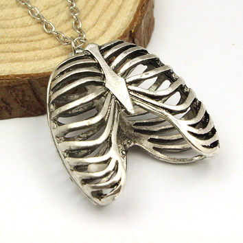 Ribcage Ribs Anatomy Anatomical Pendant Charm Necklace Silver toned Gothic Science Geek