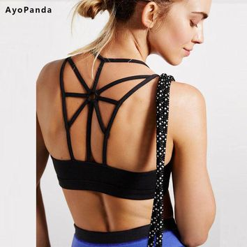 DCK9M2 AyoPanda 2016 New Womens Sports Bra Options Padded Running Fitness Bra Push Up Sport Underwear For Ladies Strappy Back Yoga Top