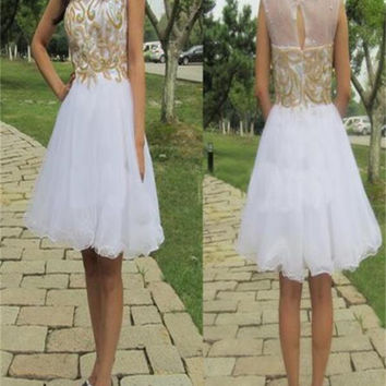 White Tulle Homecoming Dress, Junior Dress, Affordable Homecoming Dress