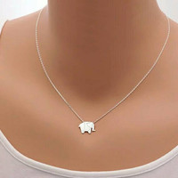 Origami Elephant Necklace - Dainty Silver Necklace - Silver Pendant Necklace - PREORDER