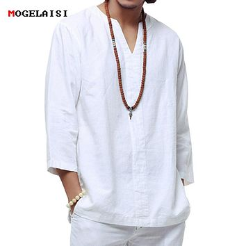 Chinese style linen shirt Plus size 4XL/5XL men casual Breathable white soft three quarter shirt Camisa masculina hot sale TX55