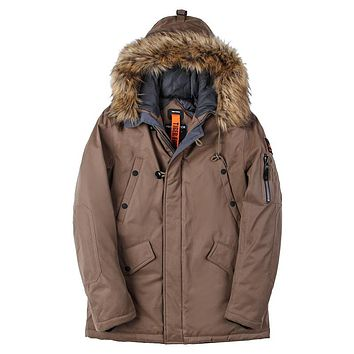 Padded Parka Men Polyester Coat Winter Jacket Mens Thick Parkas Artificial Fur Collar Water Repellent