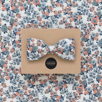 Boho wedding orange and stone blue floral bow tie for him, glacier grey linen men's bow tie, summer wedding bow tie, groomsmen floral bowtie