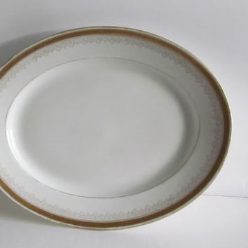 Antique Limoges Platter M Redon P L Limoges Antique Platter Gold trim Plate French Cottage decor