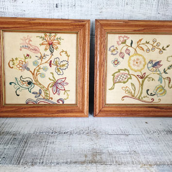 Embroidery Wall Art 2 Flower Embroidery Framed Wall Hangings Vintage Framed Crewel Embroidery Picture Needlepoint Wall Hanging Floral Design