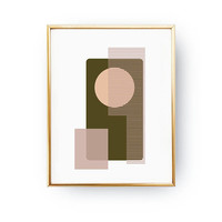 Geometric Painting, Minimal Poster, Green Pink Pattern, Geometric Print, Abstract Design, Modern Shapes, Simple Wall Art, Geometric Textures