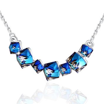 PLATO H Heart Of Ocean Blue Crystal Necklace Smiling Pendant Necklace Change Color Necklace with Swarovski Crystal, Woman Fashion Jewelry Neckalce Gifts, Ocean Blue Cubic Crystal Neckalce, 18""