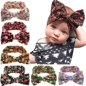 Girls Floral Print Fabric Hair Wrap With Big Bow