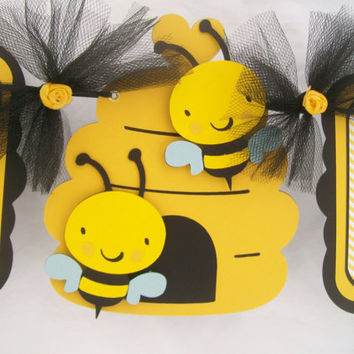 Gender Neutral bee baby shower banner, oh babee, yellow and black, READY TO SHIP