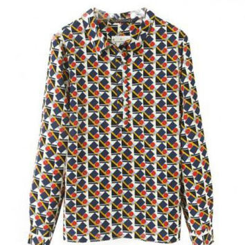 Vintage Geometry Print Long Sleeves Blouse