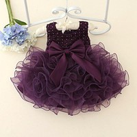 2017 Summer New  Born Baby Girl Dresses Pearls Bow Multilayered luxurious Dress Christening Gown Baby Tutu Dress 0-2 Years Old