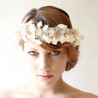 Baby's Breath flower crown, Bridal headpiece, Ivory floral hair crown, Whimsical wedding head piece - FLORAL LACE