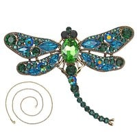 Vintage Animal Dragonfly Shinny Brooches Crystal Rhinestone Brooches for Women Dress Scarf Brooch Pin Jewelry Gift
