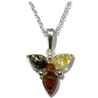 Sterling Silver Multi-Color Amber Flower Pendant Necklace on Italian Rolo Chain, 18""