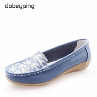 2017 Women's Casual Shoes Cow Leather Woman Flats Shoe Fashion Moccasins Female Loafers Slip On Boat Shoes Leisure Mother Shoe
