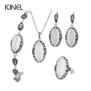Hot Vintage Wedding Jewelry Set Plating Ancient Silver 4Pcs/Sets White Opal Ring/Necklace/Bracelet And Earring For Women Valenti