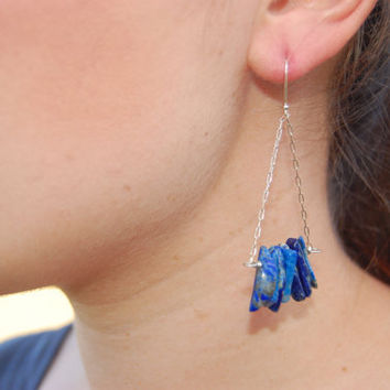 Lapis Trapeze Earrings with Sterling Silver Ear Wires