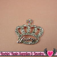 Girly CROWN Crystal Covered Silver Tone Alloy Decoden Cabochon Cell phone Decoration