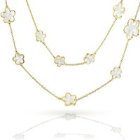 Mothers Day Gifts Gold Plated White Enamel 5 Leaf Clover Long Necklace 42in