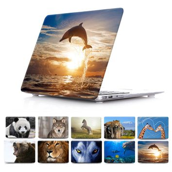 Lion Leopard Elephant Wolf Dolphins Print Animal Prints  Hard Cover Case For Macbook Air 13 11 for MacBook Pro Retina 13 15