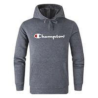 Champion 2019 new letter printing men and women hooded sweater dark grey