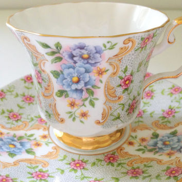 English Crownford Queen's Fine Bone China Tea Cup and Saucer Blenheim Pattern Garden Tea Party