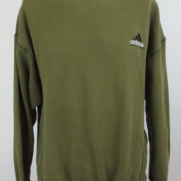 Vintage and Rare Adidas Equipment Sweatshirt - Ribbed Sides - Olive Green - Size Large - Cotton Blend