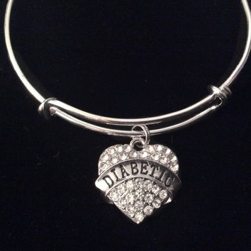 Diabetic Medical Alert Crystal Heart Charm Bracelet Diabetes Expandable Bangle Trendy Gift